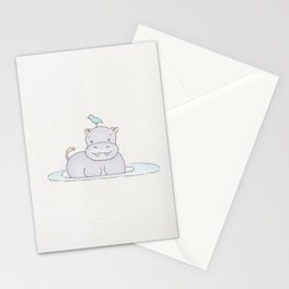 Watercolor Hippo Stationery Cards