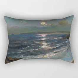 Twilight Moon coastal nautical landscape painting by Julius Olsson Rectangular Pillow