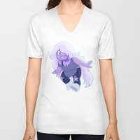 enerjax V-neck T-shirts featuring Amethyst - Crystal Gems by enerjax