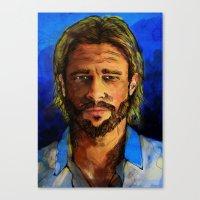 brad pitt Canvas Prints featuring Brad Pitt by Green Diablo