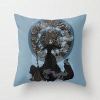 "discworld Throw Pillows featuring Eskarina  by Barbora ""Mad Alice"" Urbankova"