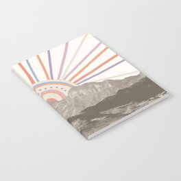 Summerlin Mountain // Abstract Vintage Mountains Summer Sun Vibe Drawing Happy Wall Hanging Notebook