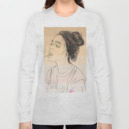 Simple Skintones Drawing of Woman Sucking Lollipop Long Sleeve T-shirt