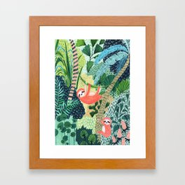 Jungle Sloth Family Framed Art Print