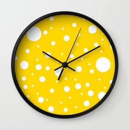 Mixed Polka Dots - White on Gold Yellow Wall Clock