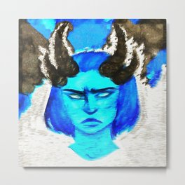 Devil With A Blue Face On Metal Print