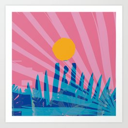Yellow sun in the pink sky of the French Riviera Art Print
