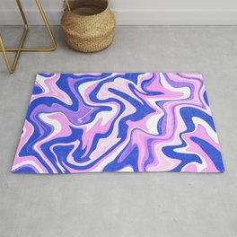 Pink, Blue and White Liquid Abstract Rug