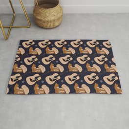 Country Cowboy Boots Hat Guitar Pattern Rug