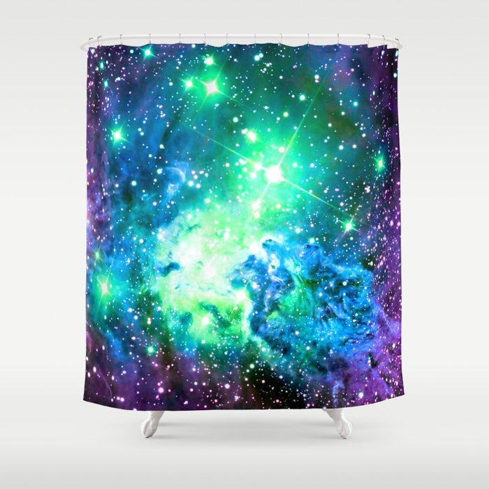 Fox Fur Nebula BRIGHT : Green Blue Purple Galaxy Shower Curtain by ...
