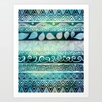 pen Art Prints featuring Dreamy Tribal Part VIII by Pom Graphic Design