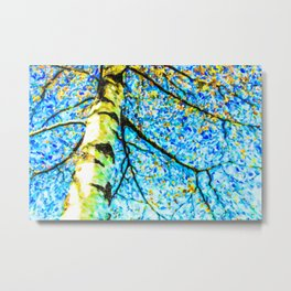 Autumn leaves sky background Metal Print