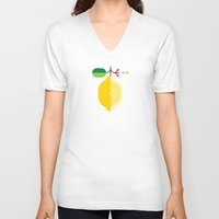 fruit V-neck T-shirts featuring Fruit: Lemon by Christopher Dina