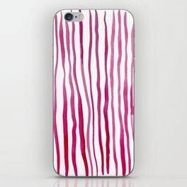 Vertical watercolor lines - red iPhone Skin