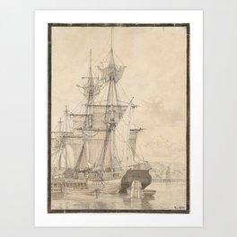 Christoffer Wilhelm Eckersberg, Sailing Vessels at Wilders Plads, Copenhagen Art Print