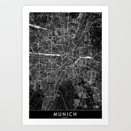 Munich Black Map Art Print