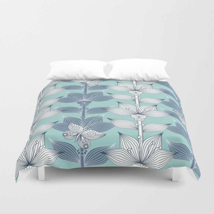 white and blue flowers duvet cover by juliagrifoldesigns society6. Black Bedroom Furniture Sets. Home Design Ideas