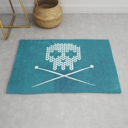 Knitted Skull (White on Blue) Rug