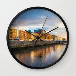 Dublin,  Liffey River at Sunset Wall Clock
