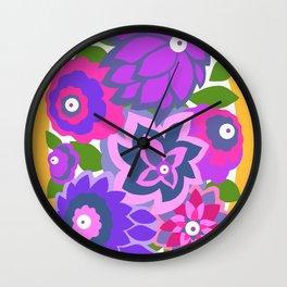 CAMBRIA, ART DECO FLORALS: OLVERA MORADO Wall Clock