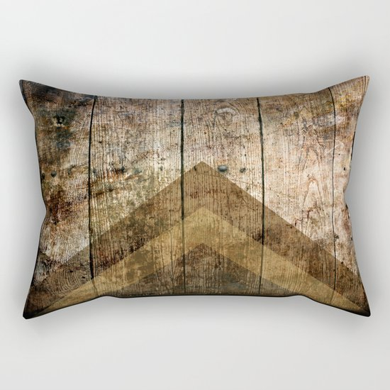 Wood and Triangles Rectangular Pillow