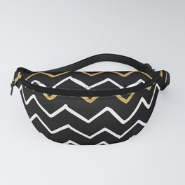 Writing Exercise - Simple Zig Zag Pattern- White Gold on Black - Mix & Match Fanny Pack