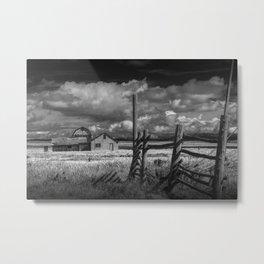 Black and White of the John Moulton Farm in the Grand Teton National Park Metal Print