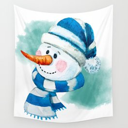 Blue Snowman 02 Wall Tapestry