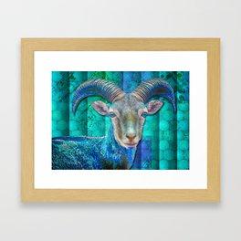 Billy Goat Blue Framed Art Print