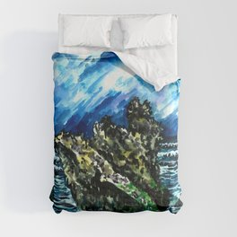 Bali Bingin beach watercolor painting landscape picture Comforters