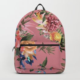 Hawaiian Tropical Island Floral Pattern on Pastel Pink Backpack