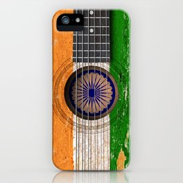 Old Vintage Acoustic Guitar with Indian Flag iPhone Case