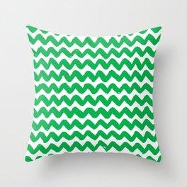 Green Brushstroke Chevron Pattern Throw Pillow