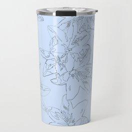 blue line art flower pattern Travel Mug