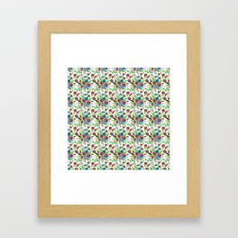 Bohemian modern pink blue green watercolor floral Framed Art Print