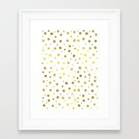 gold dots Framed Art Prints featuring Gold Dots by Laura Maria Designs