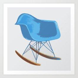 Mid-Century Rocker Chair - Blue Art Print