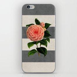 botanical stripes - camellia iPhone Skin
