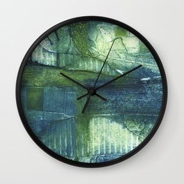 Blue Abstract Collagraph Wall Clock