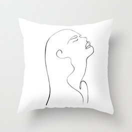 One line lady face Throw Pillow