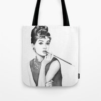 audrey Tote Bags featuring Audrey by Olechka