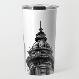 pyramid building and vintage style building at San Francisco, USA in black and white Travel Mug