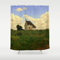 uk Shower Curtains featuring Canary Cottage, Thorney, UK by Neville Hawkins