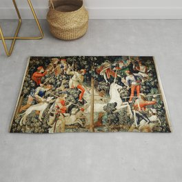 Slaying Of The Unicorn Medieval Tapestry Rug