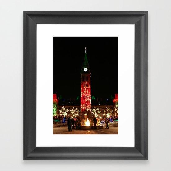 Peace Tower on Christmas Framed Art Print
