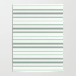 Mattress Ticking Wide Striped Pattern in Moss Green and White Poster