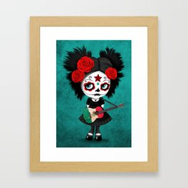 Day of the Dead Girl Playing Mexican Flag Guitar Framed Art Print