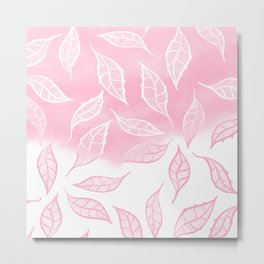 Modern pink white watercolor ombre lace leaf pattern illustration Metal Print