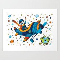 Boy on a plane Art Print