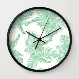 Island Tropical Green White Jungle Wall Clock